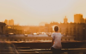 Picture roof, girl, the city, morning, Moscow, Alone