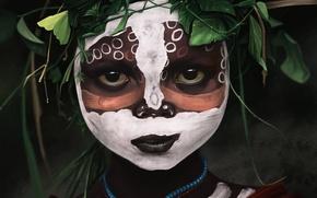 Picture leaves, girl, art, beads, coloring, savage, aboriginal, mohammad javadi
