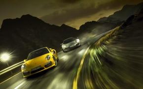 Picture race, speed, Porsche 911 turbo, mclaren mp4-12 spyder