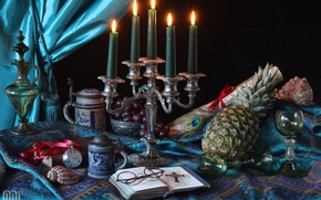 Picture pen, watch, candles, glasses, glasses, grapes, Cup, shell, pitcher, pineapple, still life