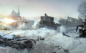 Picture war, destruction, ruins, tanks, game wallpapers, World of Tanks