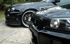 Picture black, Nissan, black, skyline, Nissan, gtr, front, r34, gtr, р34