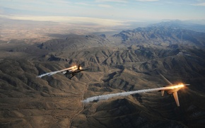 Picture flight, mountains, the plane, pair, bomber