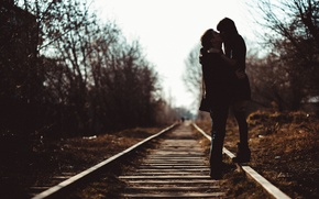 Picture girl, love, rails, kiss, spring, guy