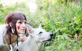 Picture girl, animal, wolf, cosplay, cosplay, Princess Mononoke, Princess mononoke