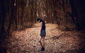 Picture sadness, autumn, forest, girl, Chloe