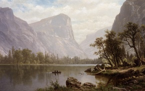 Picture picture, painting, Yosemite Valley, painting, 1864, Albert Bierstadt, Mirror Lake