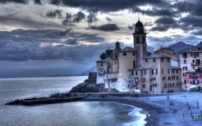 Picture sea, clouds, overcast, coast, home, pier, Italy, Camolgi