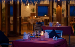 Picture ocean, glasses, tables, chairs, resort, restaurant, bungalows