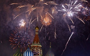 Wallpaper St. Basil's Cathedral, Russia, fireworks, Moscow, salute, Cathedral, New Year, Moscow