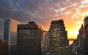 Wallpaper Manhattan, Lower, Sunset, New York City, building, clouds, sunset
