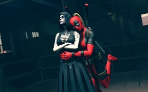 Picture death, hood, Death, makeup, Marvel Comics, Lady Deadpool