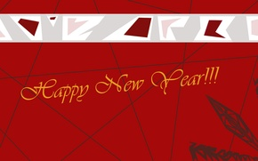 Picture red, new year, Red, Happy New Year, snowflake, congratulations, New Year, postcard
