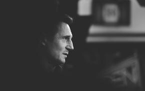 Picture silhouette, black and white, silhouette, Liam Neeson, Liam Neeson, black & white