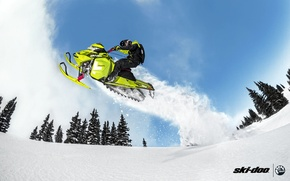 Picture snow, jump, green, snowmobile, snowmobile, Ski Doo