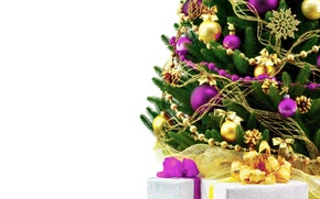 Picture white, background, holiday, widescreen, balls, Wallpaper, tree, new year, spruce, gifts, wallpaper, new year, bow, ...