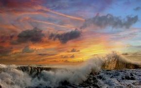 Wallpaper clouds, Wave, sunset