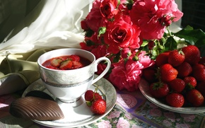 Picture summer, berries, roses, cookies, strawberry, Cup, still life, compote