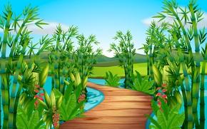 Picture greens, bridge, river
