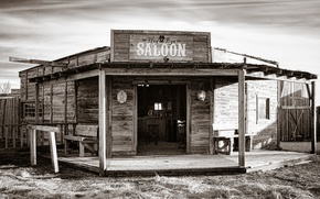 Picture light, style, shadow, bar, wooden, black and white, West, solar, the saloon, atmospheric, dikici