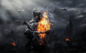 Wallpaper fire, soldiers, zombies, Battlefield 3 zombies