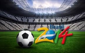 Picture stadium, football, flag, World Cup, Brasil, FIFA, 2014