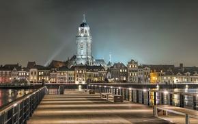 Picture night, lights, Netherlands, Holland, Deventer, De Hoven, Overyssel