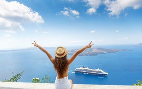Picture Sea, Girl, Ship, Hat