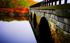 Picture water, trees, bridge, surface, Park, river, Autumn, stone