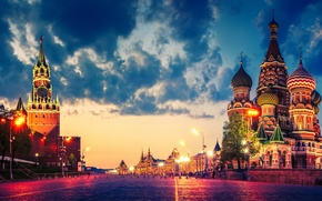 Picture clouds, lights, Moscow, The Kremlin, St. Basil's Cathedral, Russia, Red square, twilight