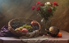 Picture roses, bouquet, fruit, still life