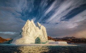 Picture sea, clouds, iceberg, floe, the fjord, Greenland, Greenland, Scoresby Sound, Scoresby Bay