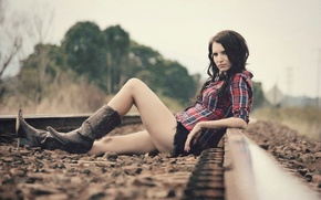 Picture girl, background, railroad