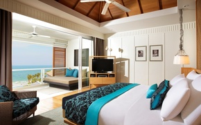 Picture design, bed, chair, TV, balcony, bedroom, interior, lounger.