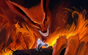 Picture flame, grin, Fox, cloak, nine-tailed, naruto, namikaze minato, Sharingan, kyubi