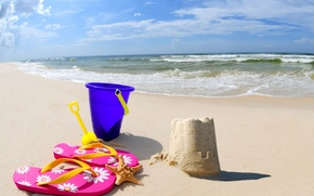Picture beach, sea, sand, bucket, sand Castle, scoop