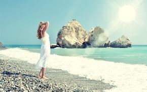 Picture sea, beach, summer, girl, the sun, stay, dress, summer, beach, vacation, sea, sun, holiday, vacation