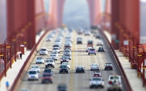 Picture machine, city, volkswagen, cars, lexus, mercedes, bridges, ford, kia, tilt-shift