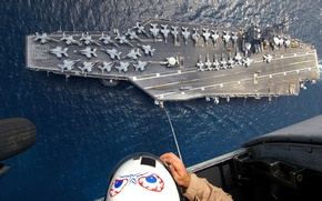 Picture people, the ocean, figure, people, aircraft, helicopter, helmet, the carrier, cabin, the cable, chassis, bombers, ...