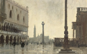 Picture picture, the urban landscape, Edward Seago, Winter Morning. The Doge's Palace. Venice