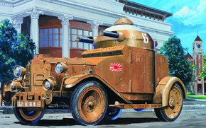 Picture road, the city, street, art, two, weapons, Japanese, armored car, machine gun, M25, 71 mm, …