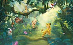 Picture summer, animals, mood, cartoon, jungle, art, walk, kids, friends, children's, the lion king