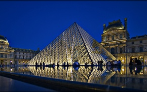 Picture night, lights, France, Paris, Palace, Louvre