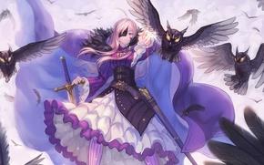 Picture magic, Girl, cross, sword, feathers, warrior, mask, cloak, sheath, burning eyes, pemene, owls