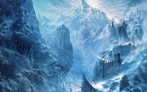 Picture snow, mountains, castle