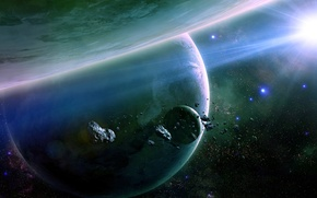 Picture stars, planets, asteroids, shining in space