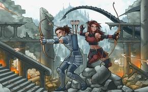Wallpaper girl, the city, dragon, elf, anime, bow, Archer, art, destruction, tail, ruins, arrows, Archer