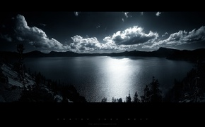 Picture forest, clouds, mountains, lake, Night