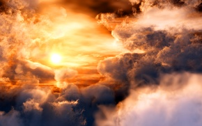 Picture space, clouds, sunset, planet, sun
