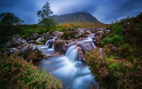 Picture water, mountain, stream, Scotland, Highland, Badlands Etive Mòr